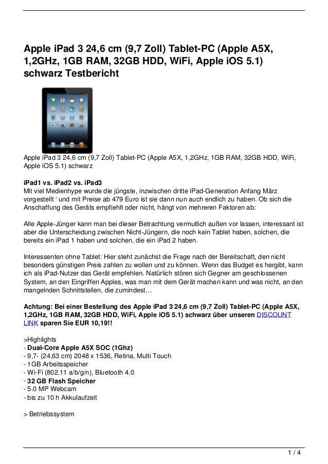 Apple iPad 3 24,6 cm (9,7 Zoll) Tablet-PC (Apple A5X,1,2GHz, 1GB RAM, 32GB HDD, WiFi, Apple iOS 5.1)schwarz TestberichtApp...