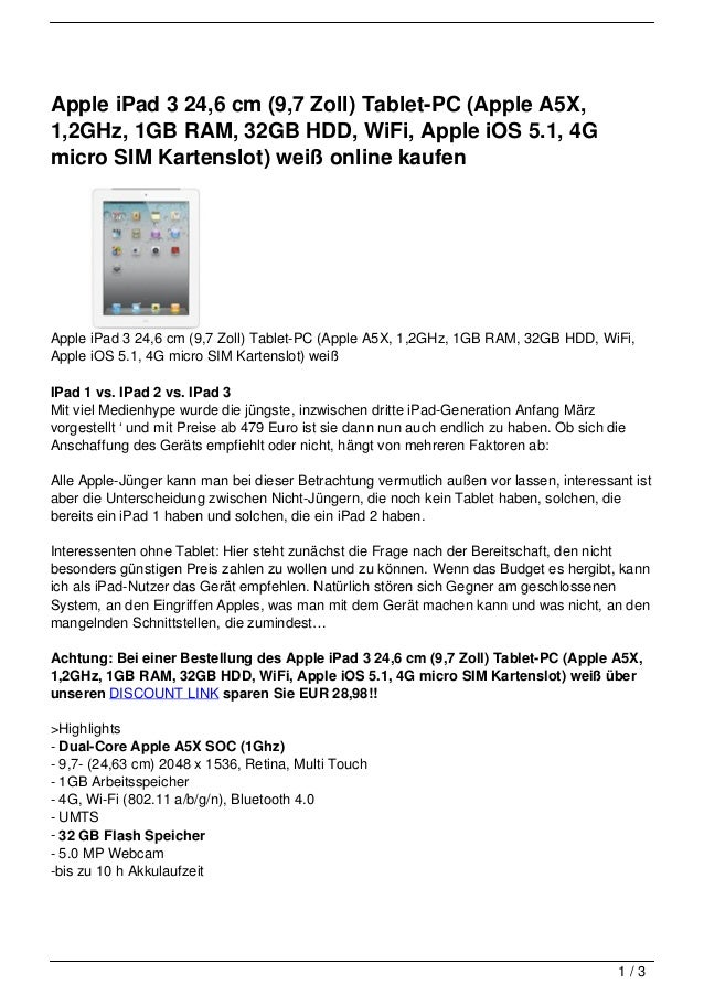 Apple iPad 3 24,6 cm (9,7 Zoll) Tablet-PC (Apple A5X,1,2GHz, 1GB RAM, 32GB HDD, WiFi, Apple iOS 5.1, 4Gmicro SIM Kartenslo...