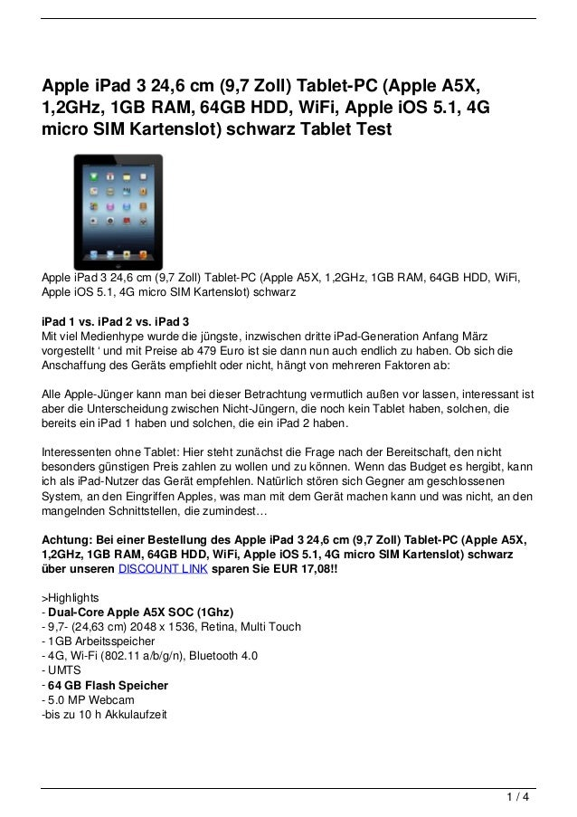 Apple iPad 3 24,6 cm (9,7 Zoll) Tablet-PC (Apple A5X,1,2GHz, 1GB RAM, 64GB HDD, WiFi, Apple iOS 5.1, 4Gmicro SIM Kartenslo...