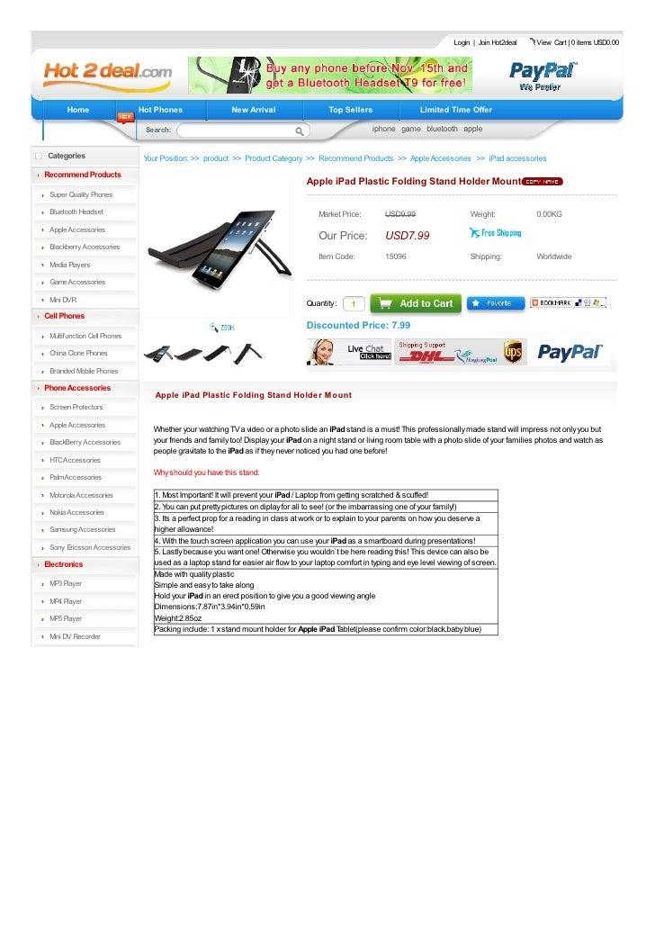 Apple iPad Plastic Folding Stand Holder Mount