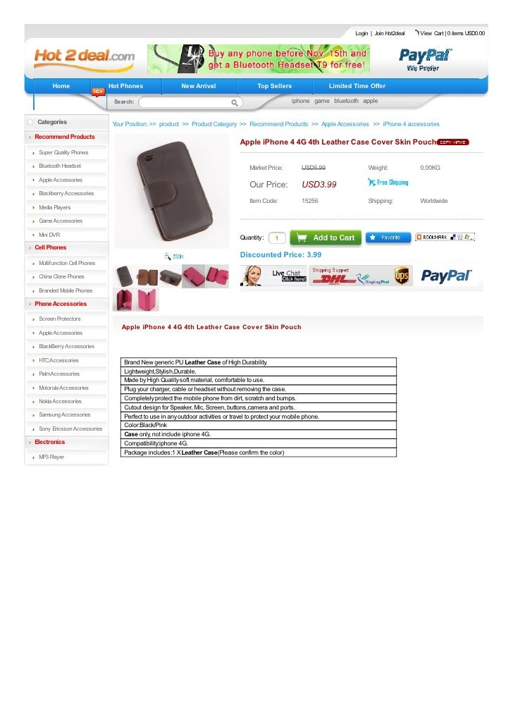 Apple iPhone 4 4G 4th Leather Case Cover Skin Pouch
