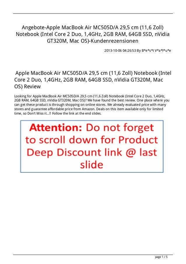 Angebote-Apple MacBook Air MC505D/A 29,5 cm (11,6 Zoll) Notebook (Intel Core 2 Duo, 1,4GHz, 2GB RAM, 64GB SSD, nVidia GT32...