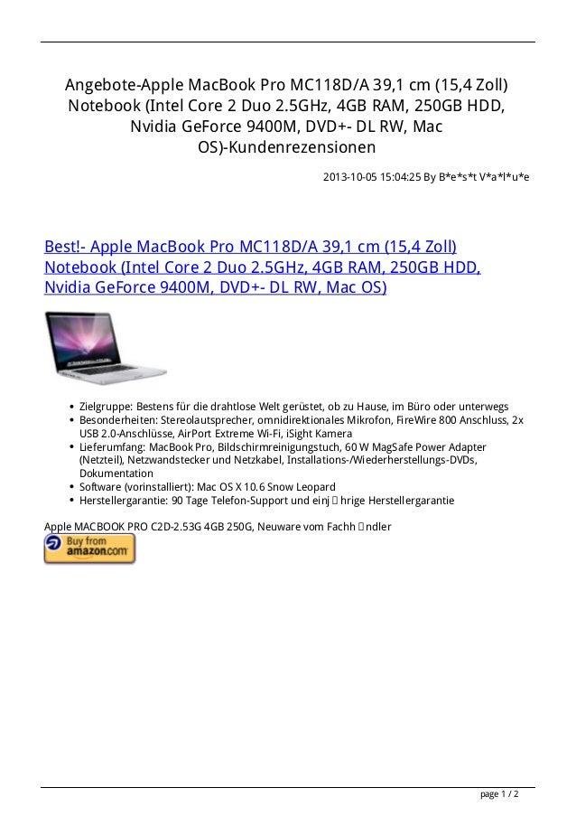 Apple macbook-pro-mc118da-391-cm-154-zoll-notebook-intel-core-2-duo-2-5ghz-4gb-ram-250gb-hdd-nvidia-geforce-9400m-dvd-dl-rw-mac-os-kundenrezensionenapp