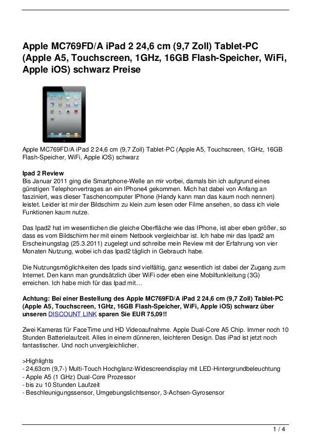 Apple MC769FD/A iPad 2 24,6 cm (9,7 Zoll) Tablet-PC(Apple A5, Touchscreen, 1GHz, 16GB Flash-Speicher, WiFi,Apple iOS) schw...