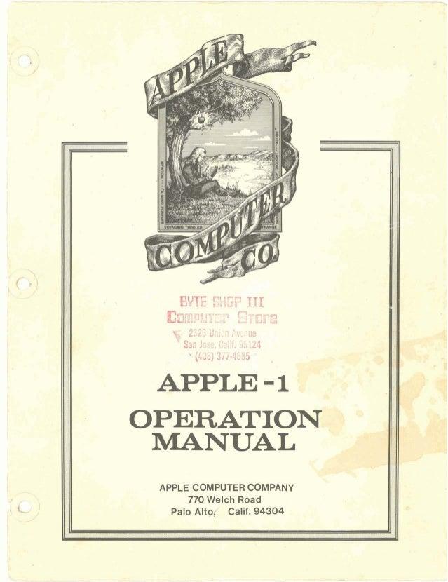 Apple 1 manual & warranty 1976