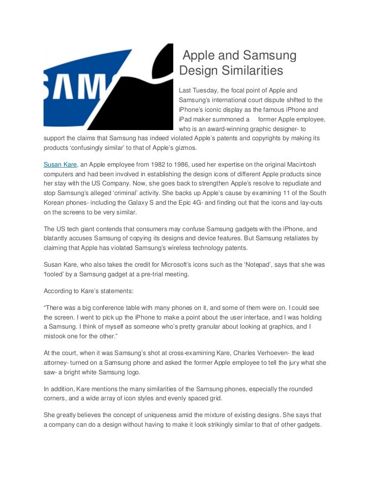 Apple and Samsung Design Similarities