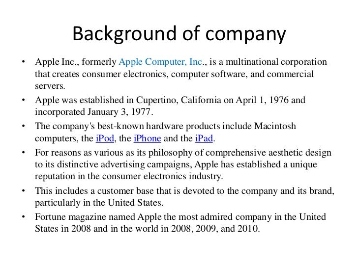 apple background information on company