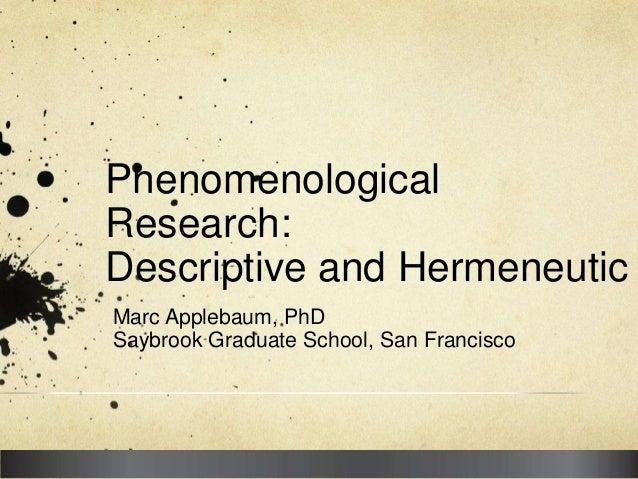 Applebaum phenomenology descriptive and hermeneutic