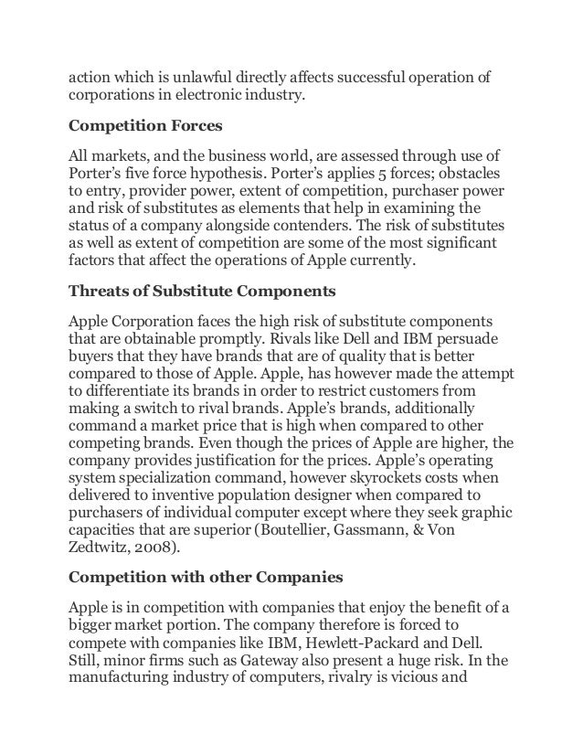 apple internal and external factors essay Following are details of certain segments that have a profound effect of apple, inc as a whole: technological segment in the computer hardware industry, technology is the top factor that influences the success of a company the innovation of technical progress provides better, faster and cheaper electronic.