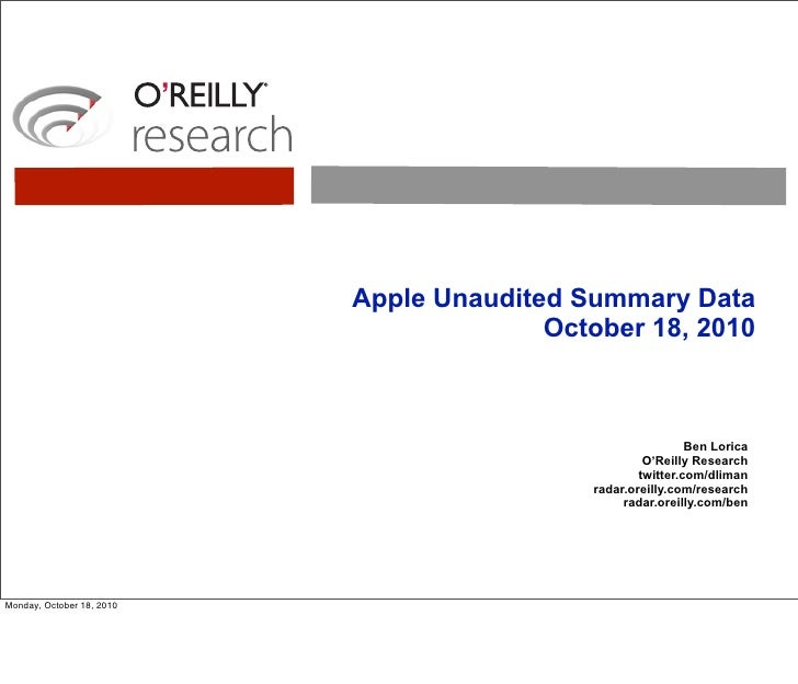 Apple Unaudited Summary Data                                          October 18, 2010                                    ...