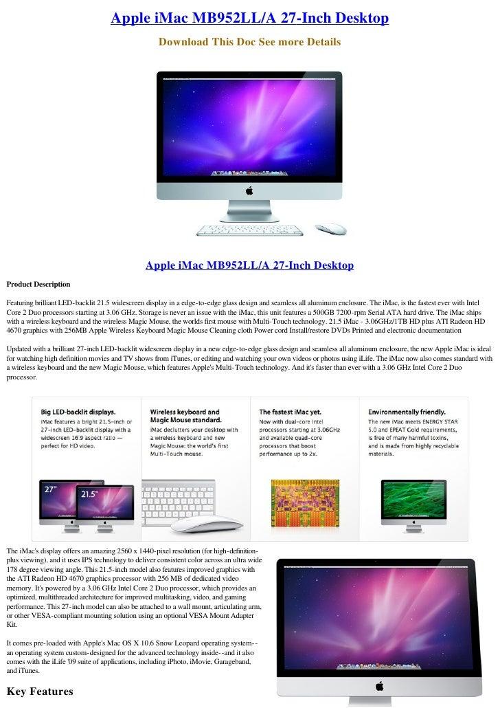 Apple iMac MB952LL/A 27-Inch Desktop                                                      Download This Doc See more Detai...