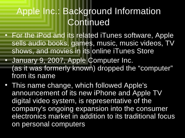 Background Apple Inc Apple Inc Background