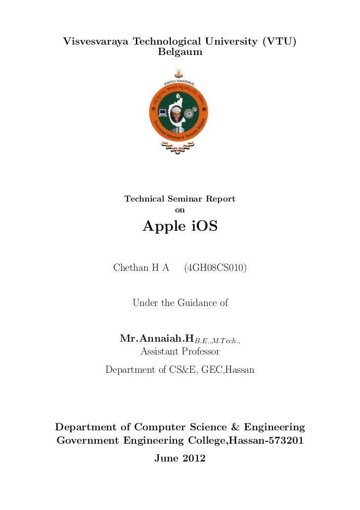 Visvesvaraya Technological University (VTU)                  Belgaum            Technical Seminar Report                  ...
