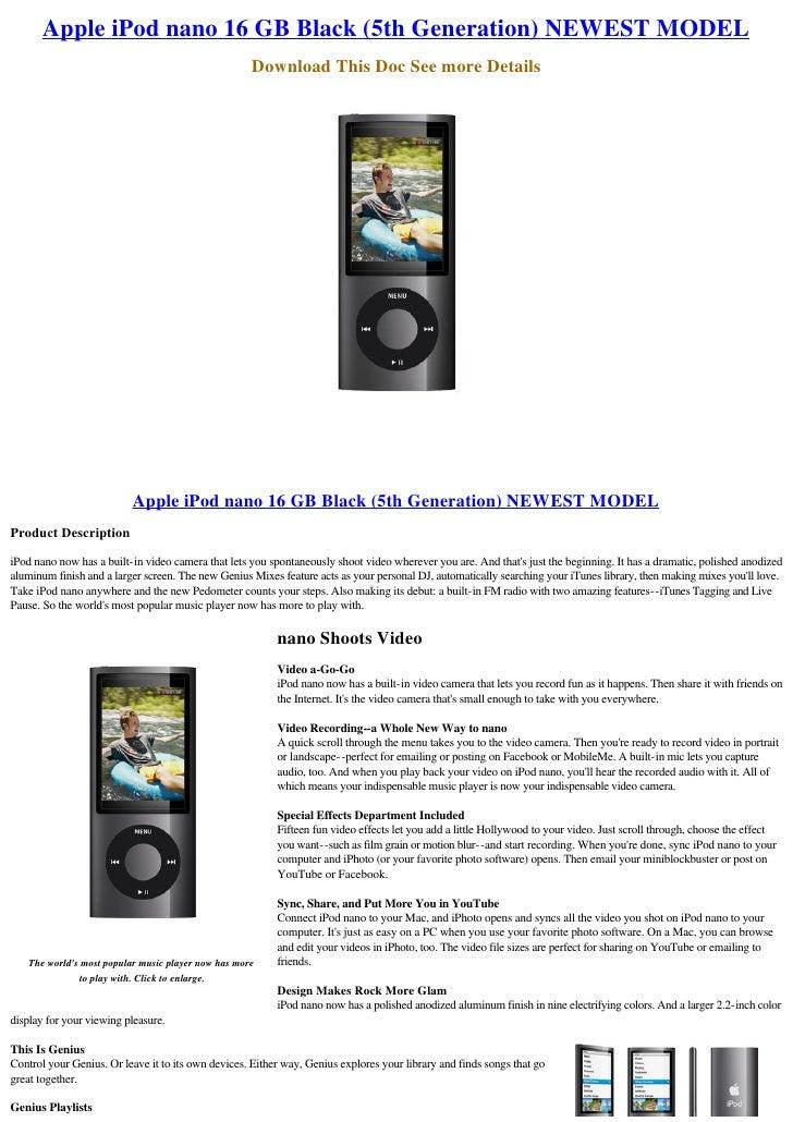 Apple iPod nano 16 GB Black (5th Generation) NEWEST MODEL                                                      Download Th...