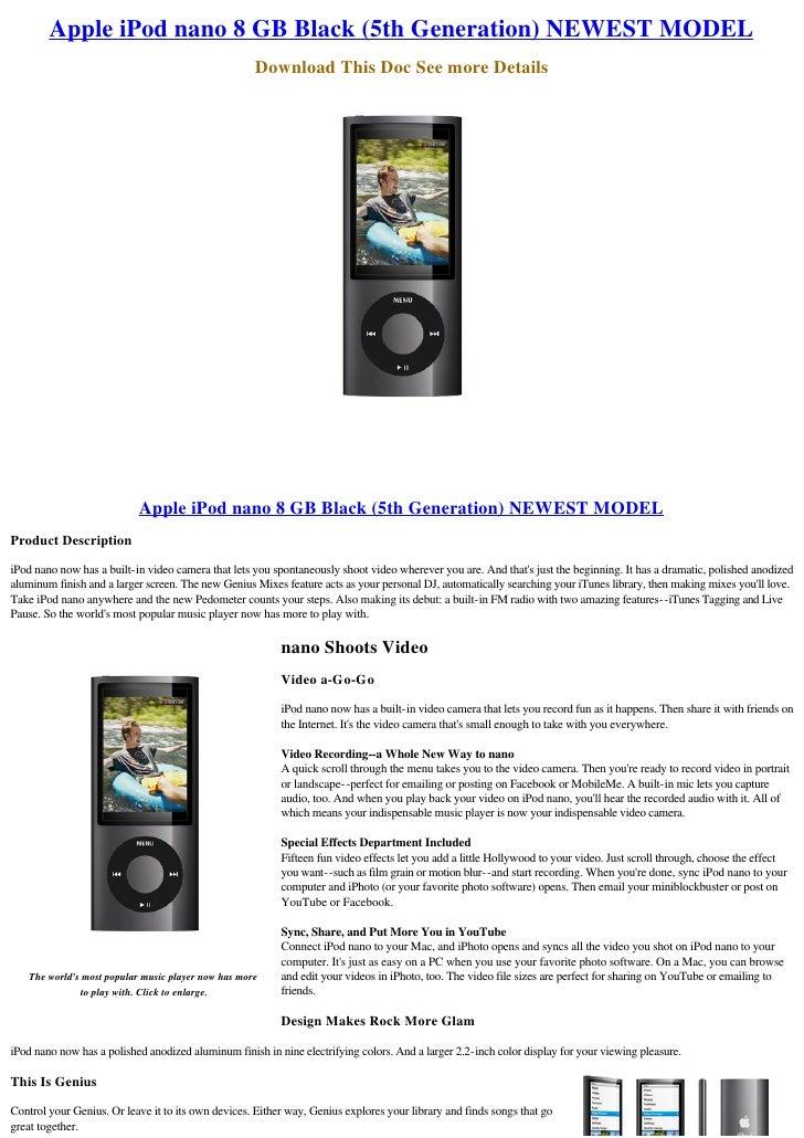 Apple iPod nano 8 GB Black (5th Generation) NEWEST MODEL                                                      Download Thi...