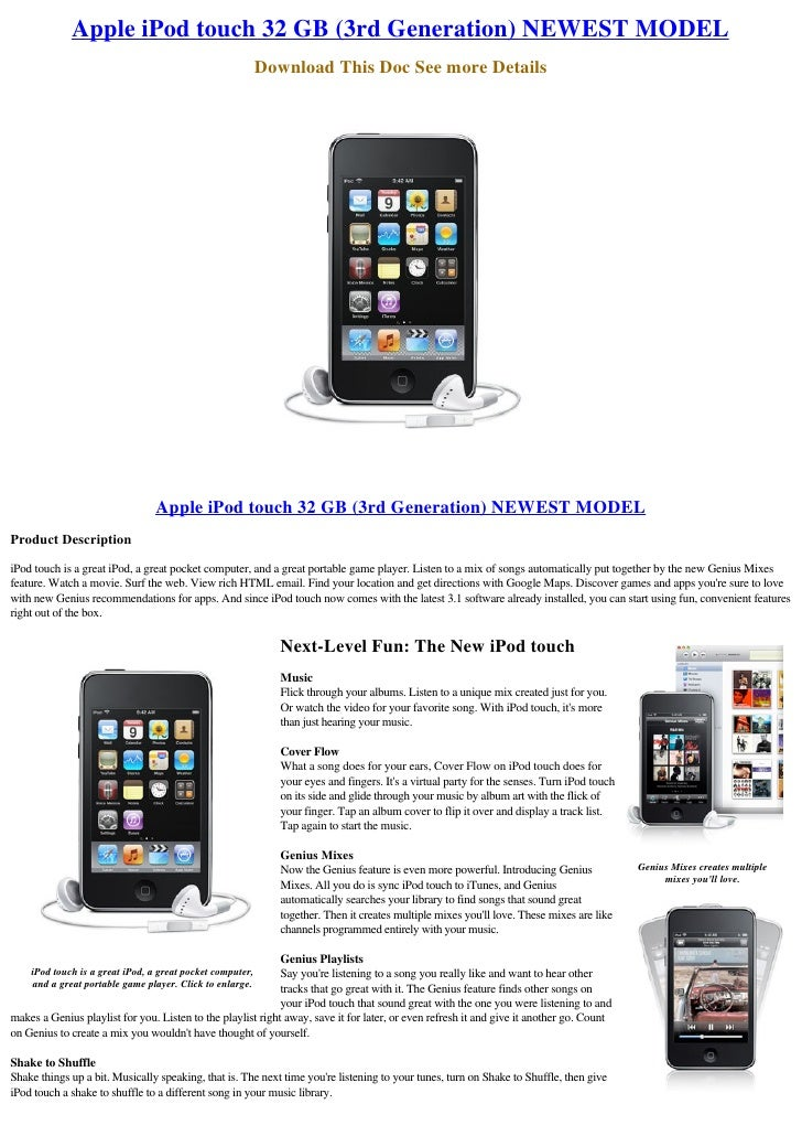 Apple iPod touch 32 GB (3rd Generation) NEWEST MODEL                                                            Download T...