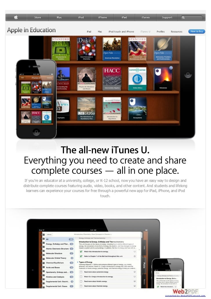 iPad   Mac    iPod touch and iPhone   iTunes U   Profiles       Resources If you're an educator at a university, college, ...