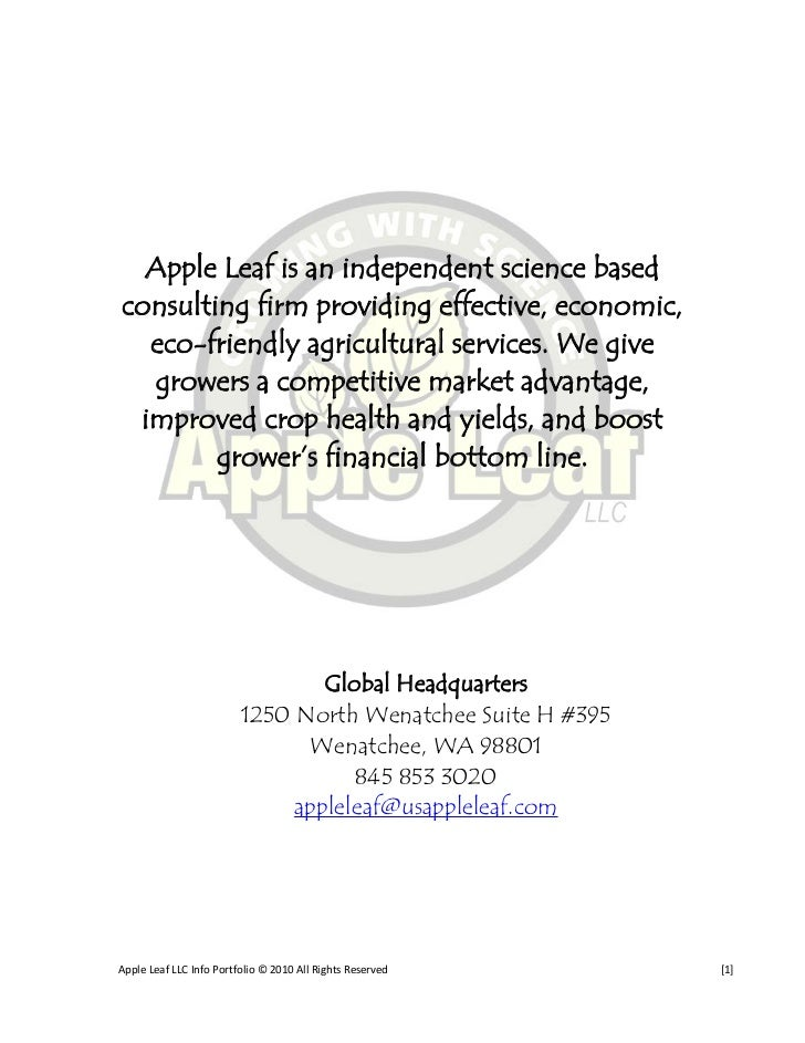 Apple Leaf is an independent science based consulting firm providing effective, economic,   eco-friendly agricultural serv...