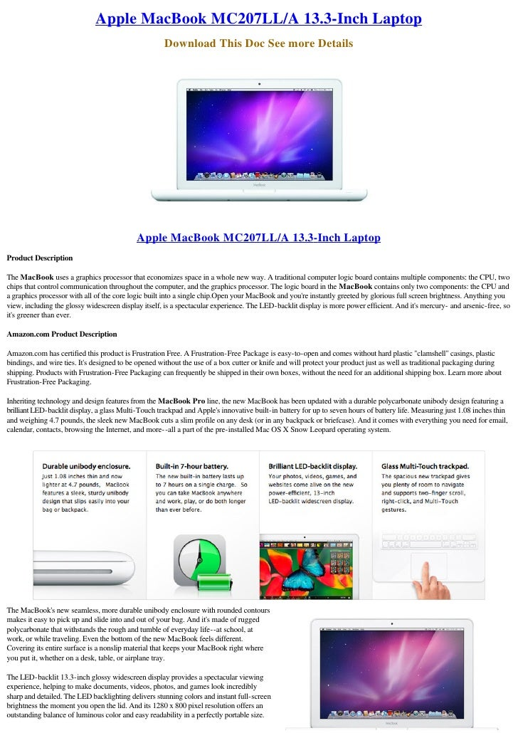 Apple MacBook MC207LL/A 13.3-Inch Laptop                                                      Download This Doc See more D...