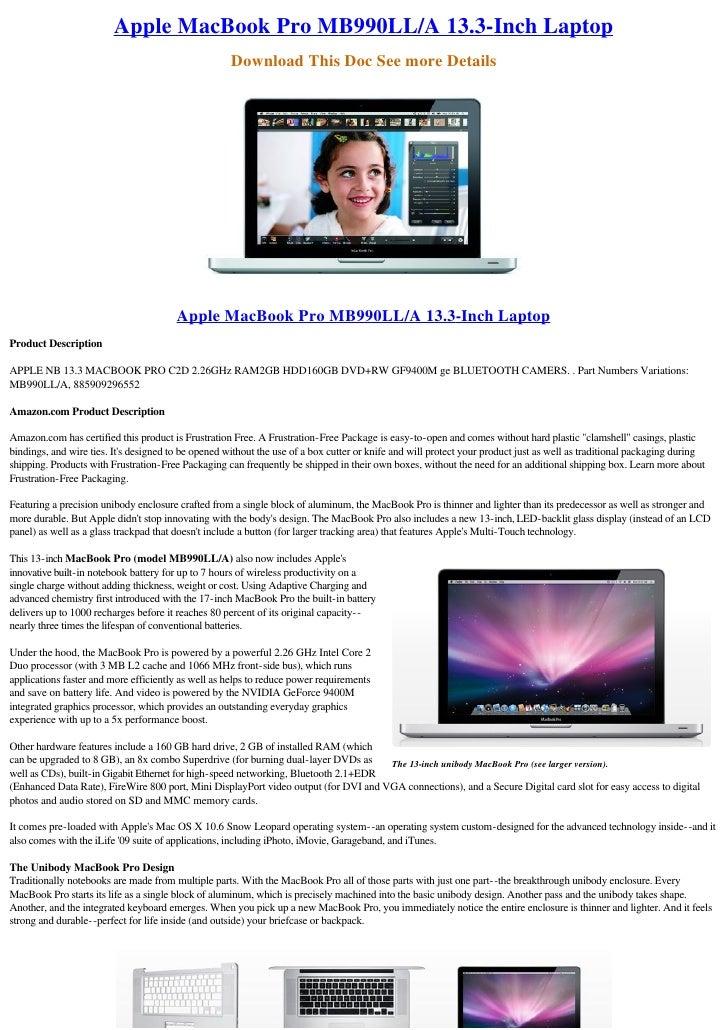 Apple MacBook Pro MB990LL/A 13.3-Inch Laptop
