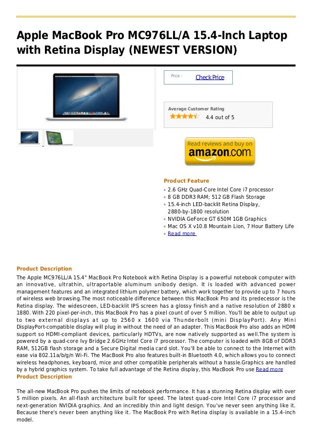 Apple mac book pro mc976ll a 15.4 inch laptop with retina display (newest version)