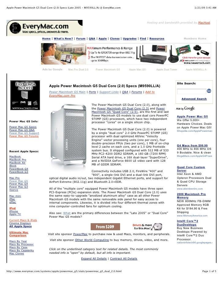 Apple Power Macintosh G5 Dual Core (2.0) Specs (Late 2005 - M9590LL/A) @ EveryMac.com                                     ...