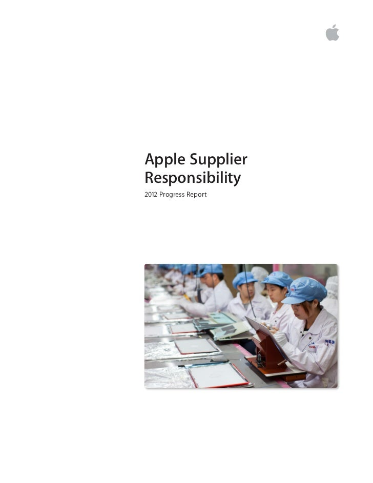 Apple Production Supplier Report - 2012 Progress Report