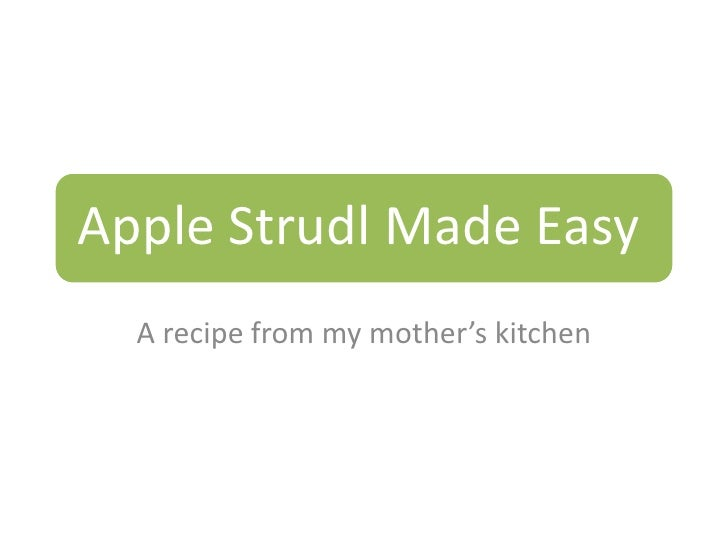 A recipe from my mother's kitchen<br />