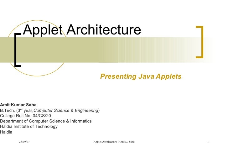 Applet Architecture - Introducing Java Applets