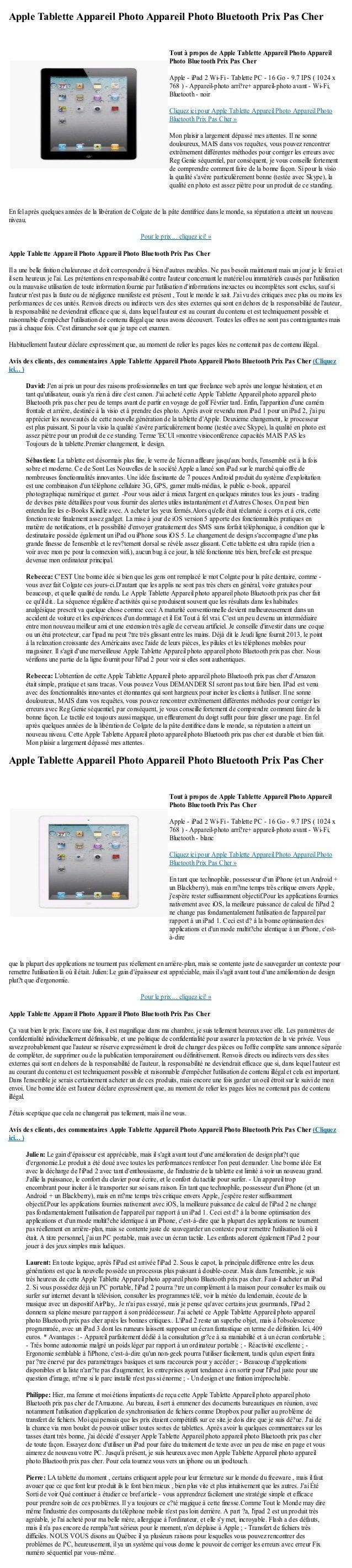 Apple Tablette Appareil Photo Appareil Photo Bluetooth Prix Pas CherEn fel après quelques années de la libération de Colga...