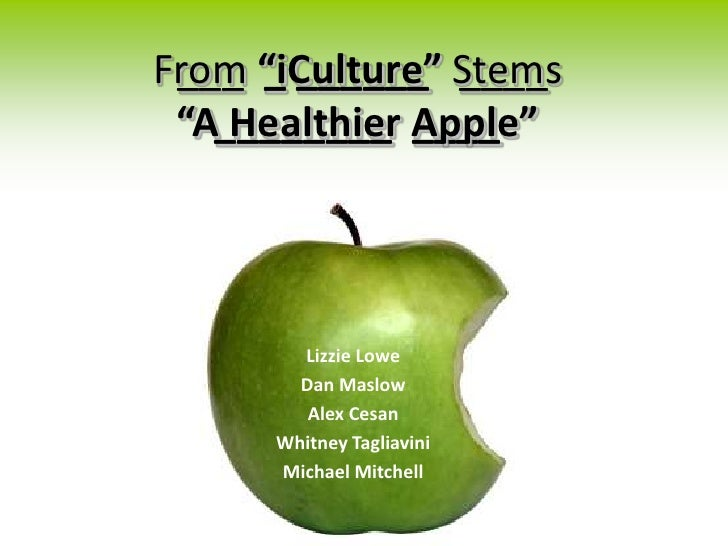 """From """"iCulture"""" Stems  ___ _ ______ ____  """"A________ Apple""""     Healthier ____             Lizzie Lowe         Dan Maslow ..."""