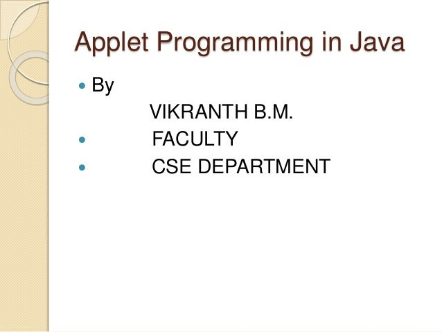 how to create an applet in java