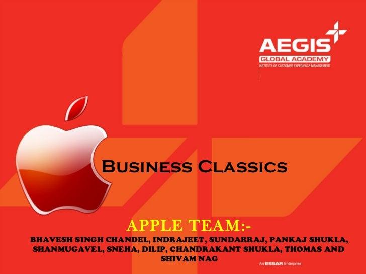 Business Classics                 APPLE TEAM:-BHAVESH SINGH CHANDEL, INDRAJEET, SUNDARRAJ, PANKAJ SHUKLA,SHANMUGAVEL, SNEH...