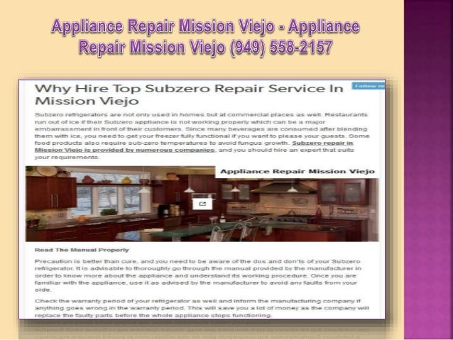 Appliance Repair Mission Viejo CA - Appliance Repair Mission Viejo (949) 558-2157