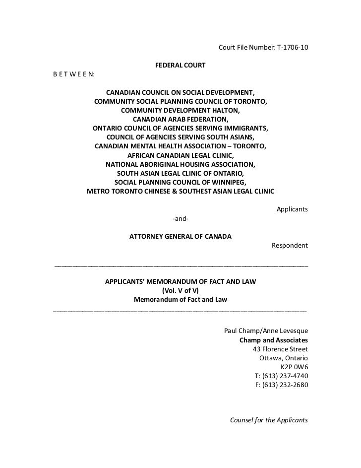 Court File Number: T-1706-10                             FEDERAL COURTB E T W E E N:               CANADIAN COUNCIL ON SOC...
