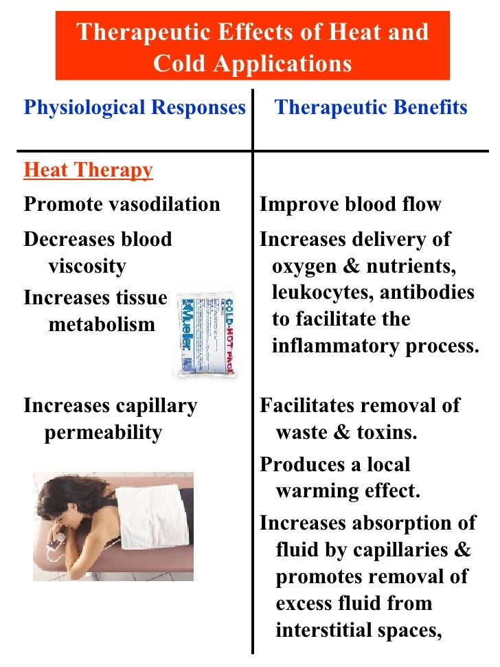 Therapeutic Effects of Heat and Cold Applications Facilitates removal of waste & toxins. Produces a local warming effect. ...