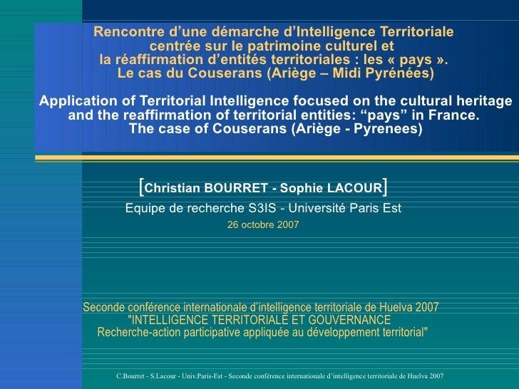 Rencontre d'une démarche d'Intelligence Territoriale                   centrée sur le patrimoine culturel et          la r...