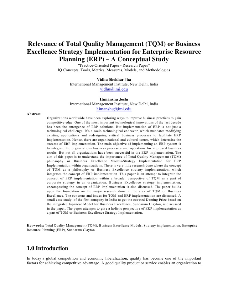 total quality tq model and methodologies essay