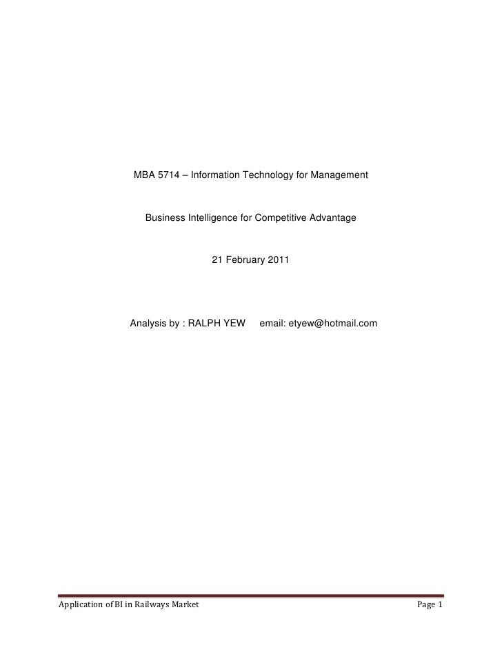 MBA 5714 – Information Technology for Management                      Business Intelligence for Competitive Advantage     ...