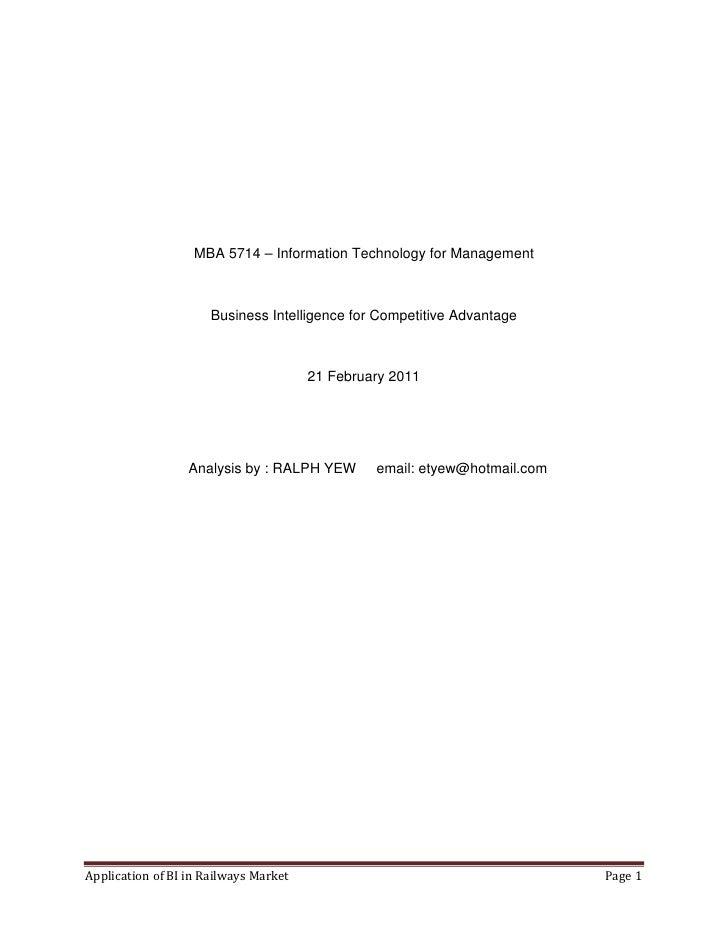Application business intelligence in railways
