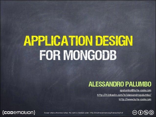 Application Design for MongoDB