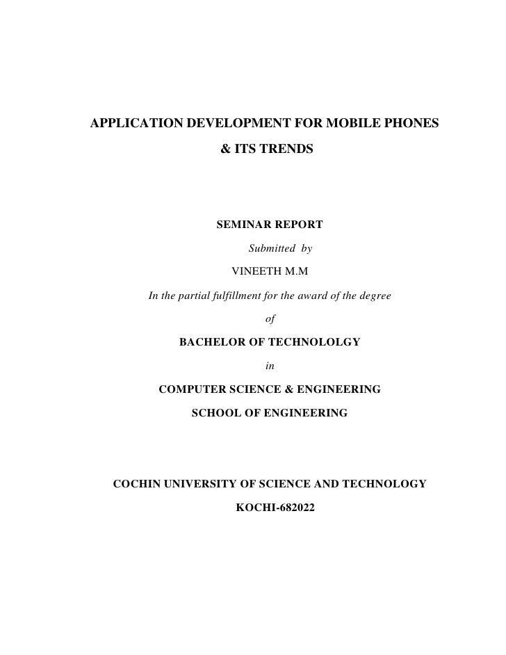 Application development for mobile phones