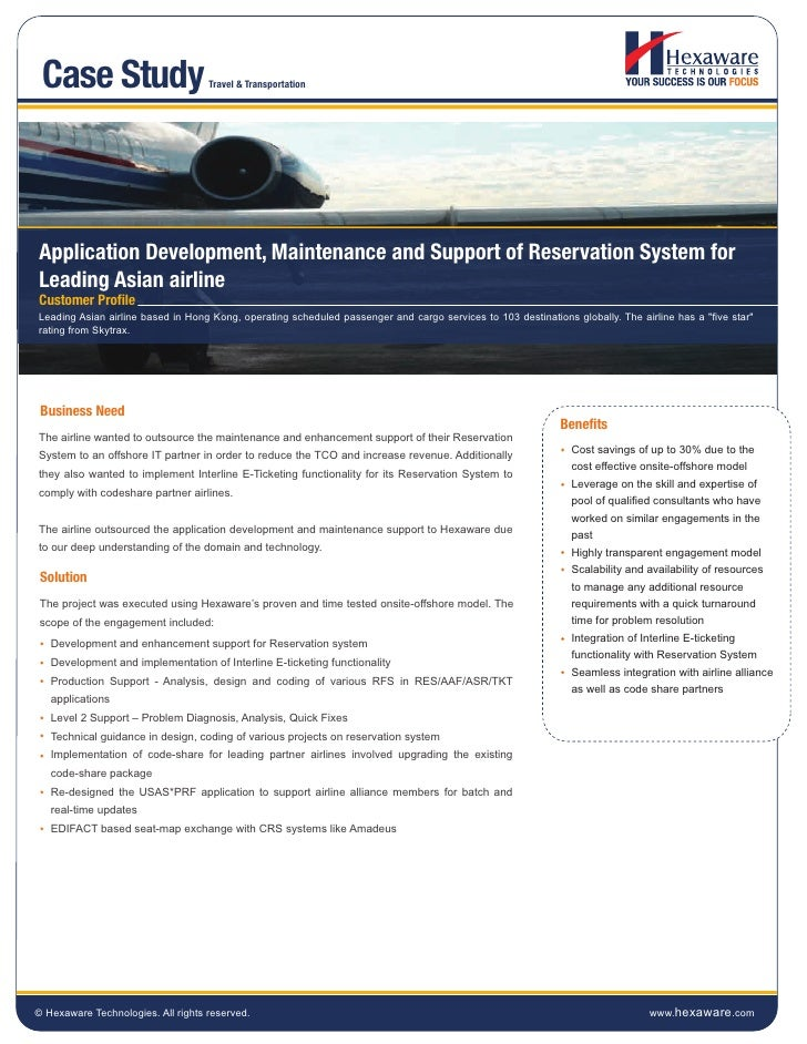 Case Study                         Travel & TransportationApplication Development, Maintenance and Support of Reservation ...