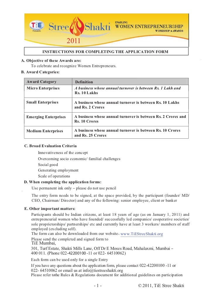 2011           INSTRUCTIONS FOR COMPLETING THE APPLICATION FORMA. Objective of these Awards are:     To celebrate and reco...