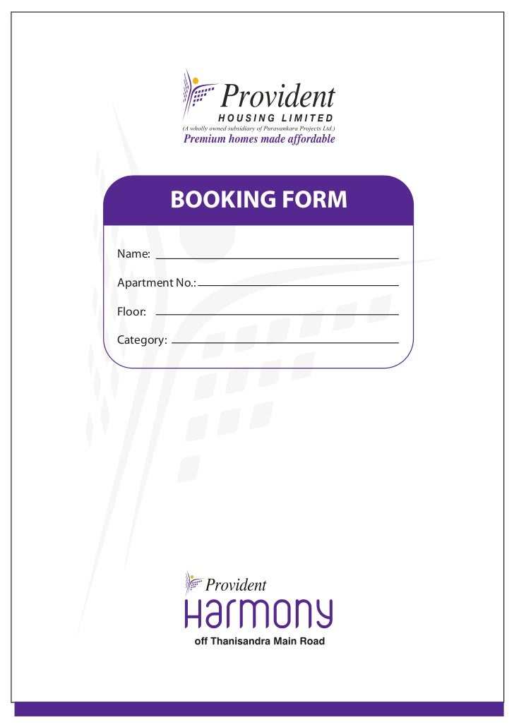 Provident Harmony -booking Form ( call 9845017139)