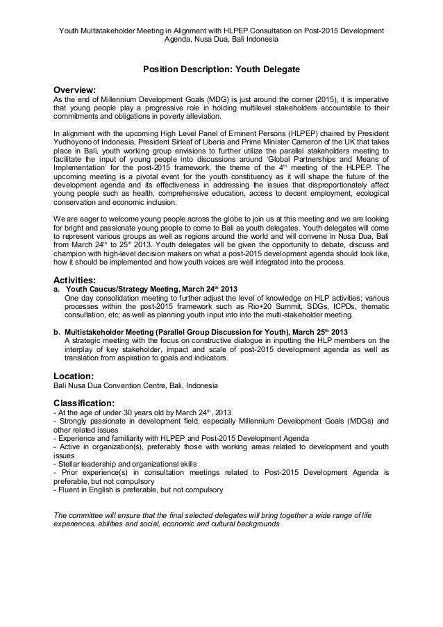 Application Form (en) Youth Multistakeholder Consultation on the Post2015 Dev Agenda in Bali