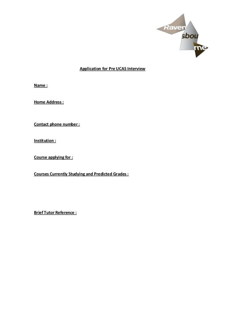 Application for pre ucas interview (Ravensbourne)