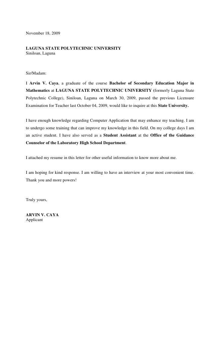 Application Letter College Admission sample application letter – Application Letter