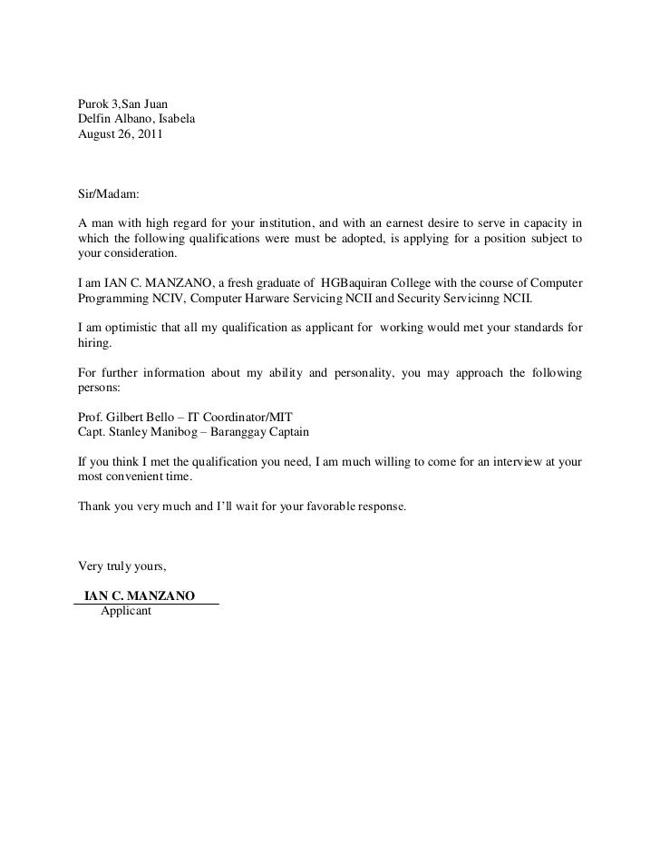 Application Letter New Graduate  Cover Letter Recent Graduate