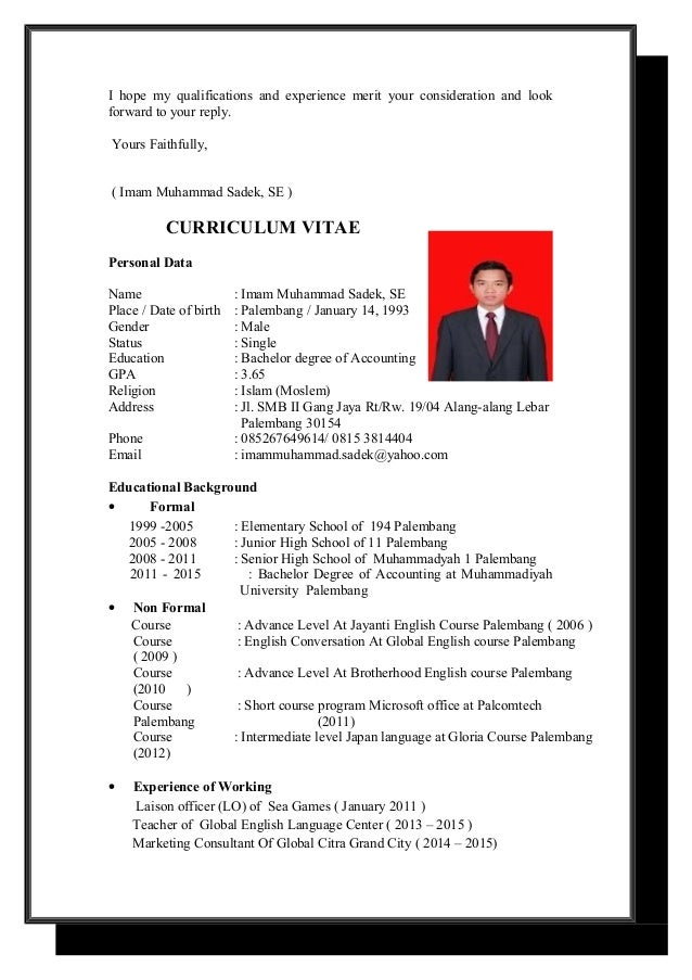 application letter and cv